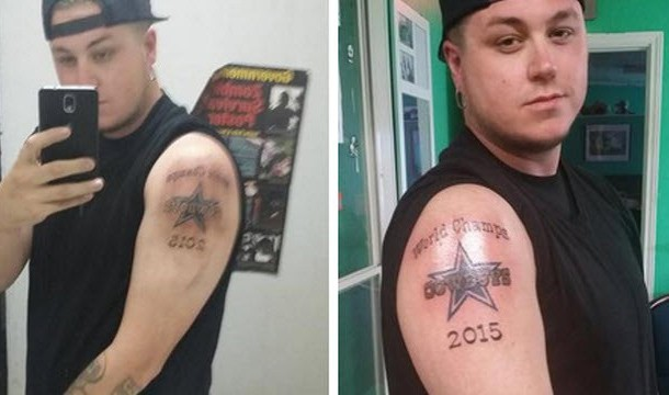 Cowboys fan does most cowboys fan thing ever for Philly sports tattoo